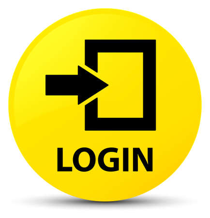 Login isolated on yellow round button abstract illustration Stock Photo