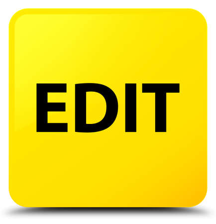 Edit isolated on yellow square button abstract illustration Stock Photo