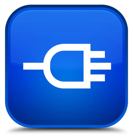 connectors: Connect icon isolated on special blue square button abstract illustration