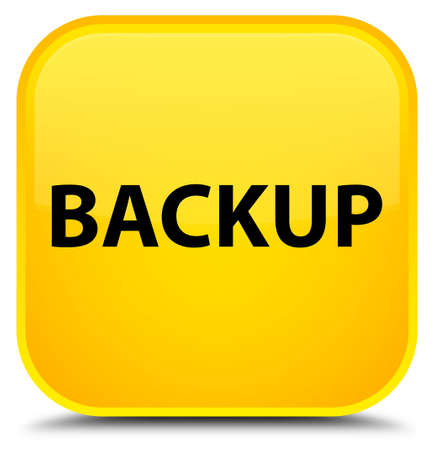 data backup: Backup isolated on special yellow square button abstract illustration