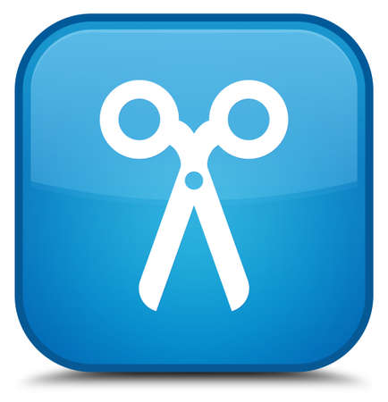 Scissors icon isolated on special cyan blue square button abstract illustration
