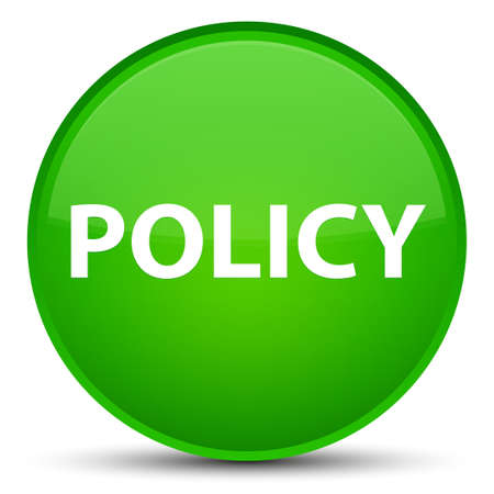 Policy isolated on special green round button abstract illustration Banco de Imagens