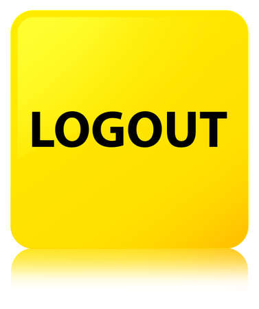 Logout isolated on yellow square button reflected abstract illustration