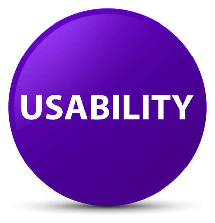 Usability isolated on purple round button abstract illustration