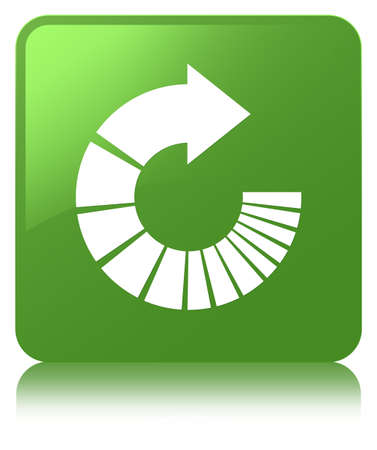 Rotate arrow icon isolated on soft green square button reflected abstract illustration