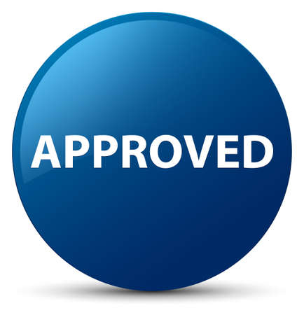 Approved isolated on blue round button abstract illustration