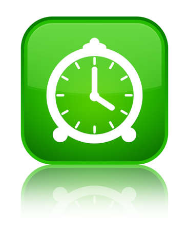 reminder: Alarm clock icon isolated on special green square button reflected abstract illustration