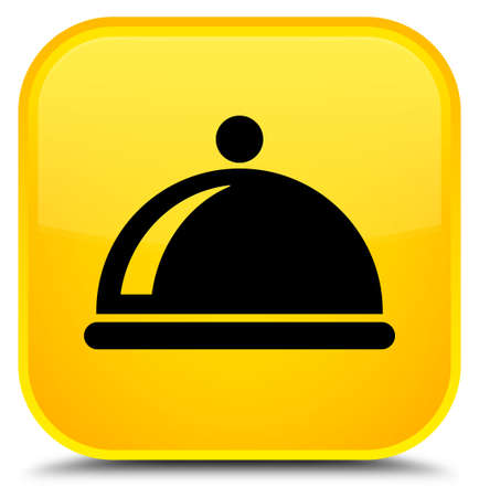 Food dish icon isolated on special yellow square button abstract illustration Stock Photo