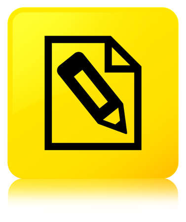 Pencil in page icon isolated on yellow square button reflected abstract illustration Stock Photo