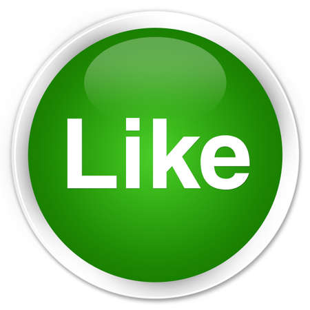 Like isolated on premium green round button abstract illustration Stock Photo