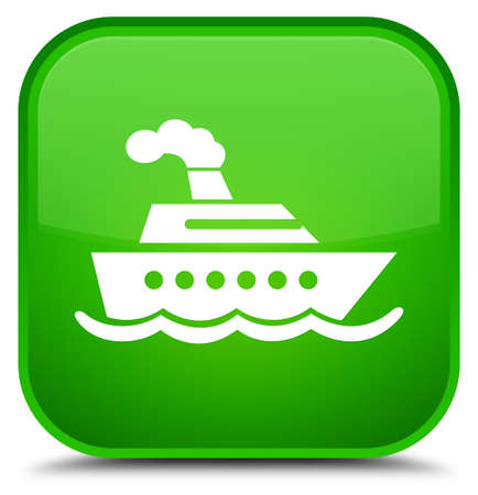 Cruise ship icon isolated on special green square button abstract illustration Stock Photo