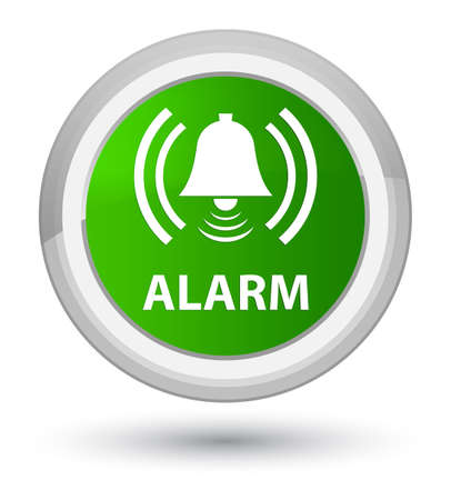 Alarm (bell icon) isolated on prime green round button abstract illustration