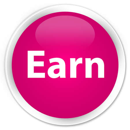 Earn isolated on premium pink round button abstract illustration