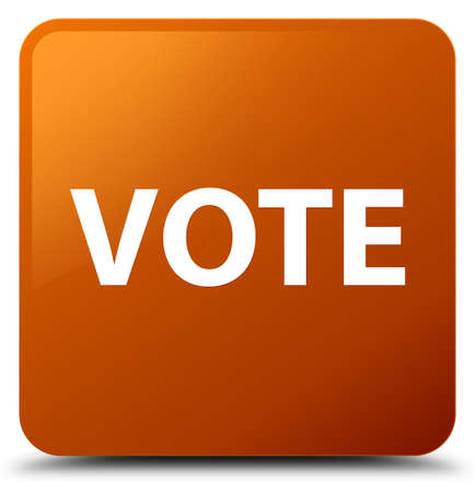 Vote isolated on brown square button abstract illustration Stock Photo