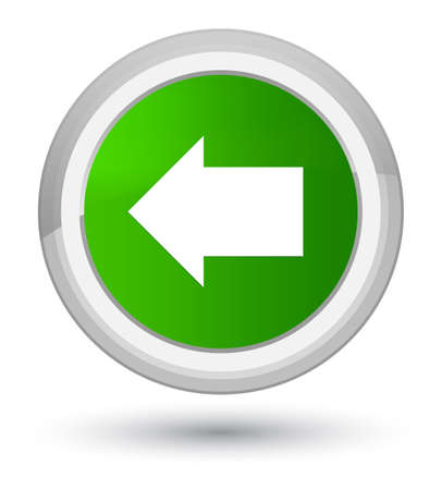 prime: Back arrow icon isolated on prime green round button abstract illustration