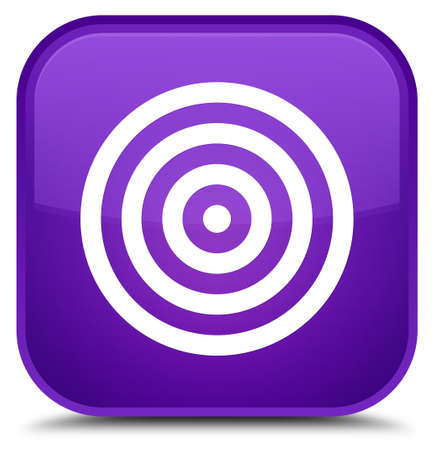 aim: Target icon isolated on special purple square button abstract illustration
