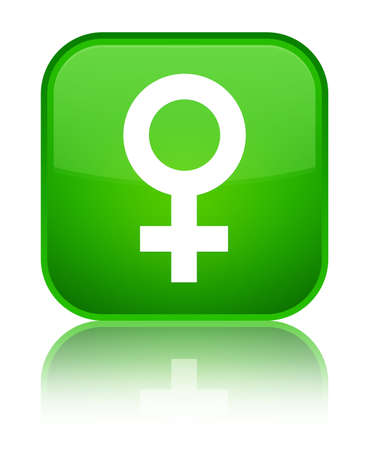 Female sign icon isolated on special green square button reflected abstract illustration Foto de archivo