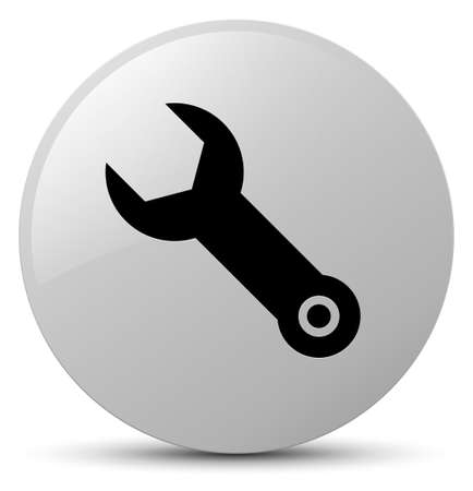 Wrench icon isolated on white round button abstract illustration