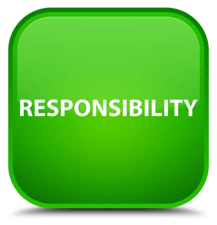 Responsibility isolated on special green square button abstract illustration Stock Photo