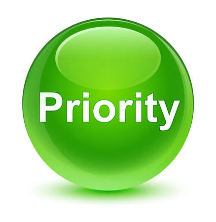 Priority isolated on glassy green round button abstract illustration Stock Photo