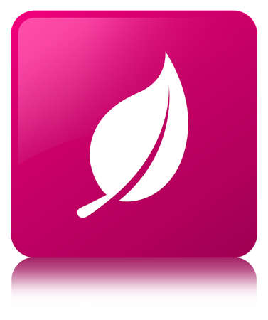 Leaf icon isolated on pink square button reflected abstract illustration Stock Photo