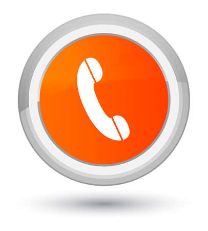 Phone icon isolated on prime orange round button abstract illustration Stock Photo