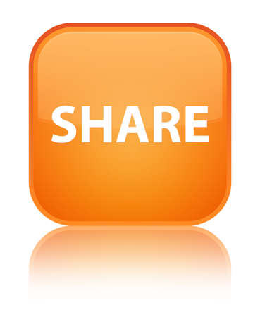 Share isolated on special orange square button reflected abstract illustration Stock Photo