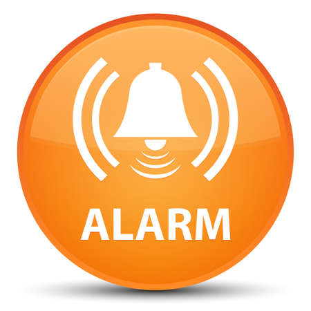 Alarm (bell icon) isolated on special orange round button abstract illustration