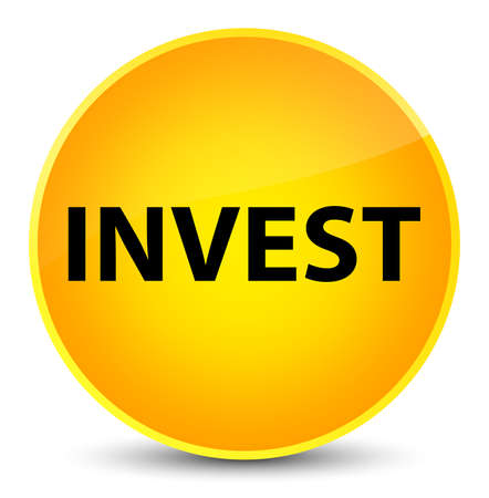 Invest isolated on elegant yellow round button abstract illustration