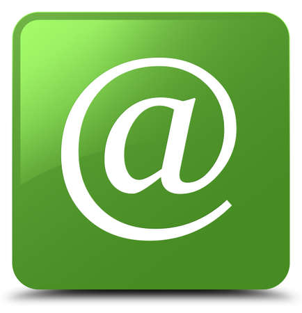 Email address icon isolated on soft green square button abstract illustration