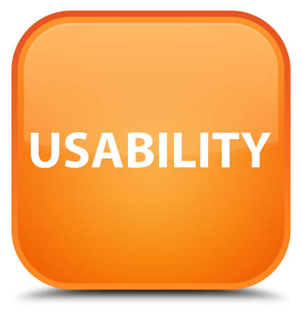 Usability isolated on special orange square button abstract illustration