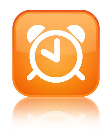 reminder: Alarm clock icon isolated on special orange square button reflected abstract illustration Stock Photo