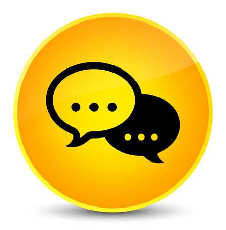 Talk bubble icon isolated on elegant yellow round button abstract illustration Stock Photo