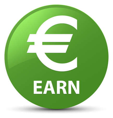 Earn (euro sign) isolated on soft green round button abstract illustration