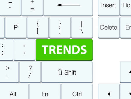 Trends isolated on soft green keyboard button abstract illustration