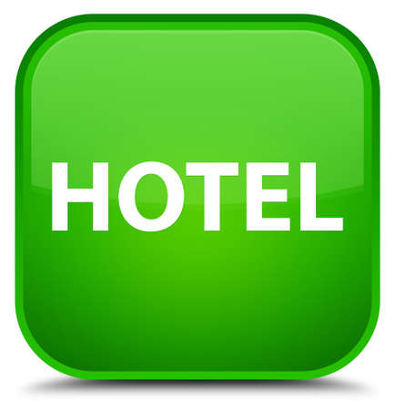 Hotel isolated on special green square button abstract illustration