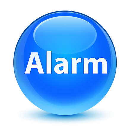 Alarm isolated on glassy cyan blue round button abstract illustration Stock Photo