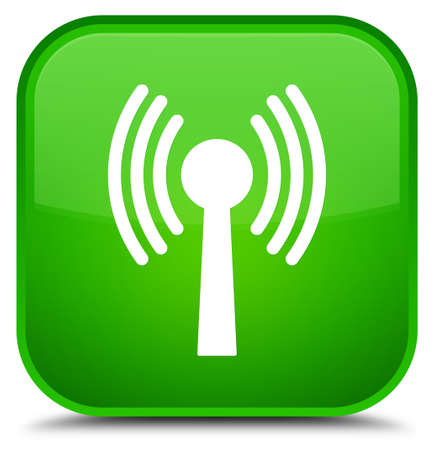 Wlan network icon isolated on special green square button abstract illustration Stock Photo