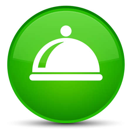 Food dish icon isolated on special green round button abstract illustration Stock Photo
