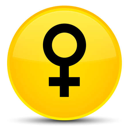 Female sign icon isolated on special yellow round button abstract illustration Banque d'images