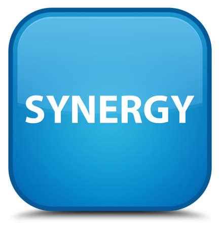Synergie op speciale cyaan blauwe vierkante knoop abstracte illustratie die wordt geïsoleerd