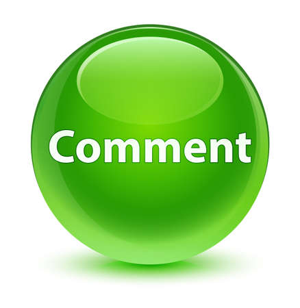 Comment isolated on glassy green round button abstract illustration