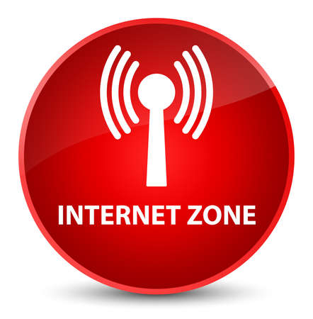 Internet zone (wlan network) isolated on elegant red round button abstract illustration