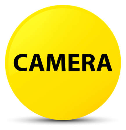 Camera isolated on yellow round button abstract illustration Stock Photo