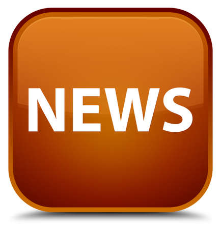 News isolated on special brown square button abstract illustration