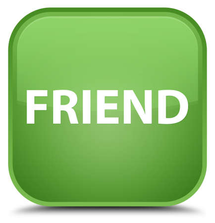 Friend isolated on special soft green square button abstract illustration Reklamní fotografie