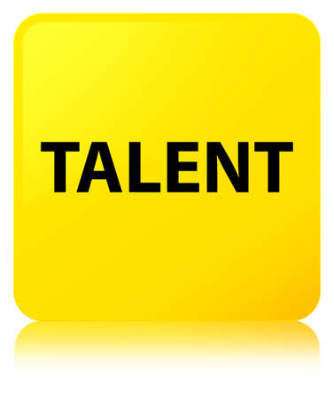 Talent isolated on yellow square button reflected abstract illustration