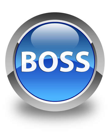 Boss isolated on glossy blue round button abstract illustration
