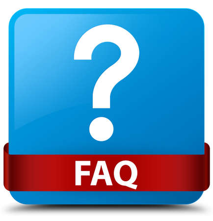 Faq (question icon) isolated on cyan blue square button with red ribbon in middle abstract illustration