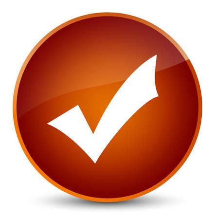 validation: Validation icon isolated on elegant brown round button abstract illustration